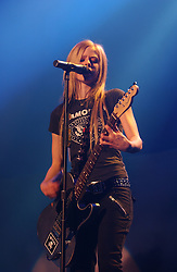 BRUSSELS, BELGIUM - OCT-1-2004 - Recording artist Avril Lavigne performs to a sold out crowd at Forest National arena in Brussels . (PHOTO © JOCK FISTICK).