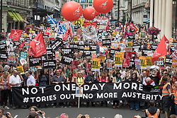 © Licensed to London News Pictures. 01/07/2017. London, UK. The People's Assembly anti-austerity demonstration passes down Haymarket. Photo credit: Peter Macdiarmid/LNP
