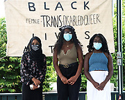 Bar Harbor, Maine. July 19, 2020. Safiya Khalid, Kosi Ifeji, and Amara Ifeji, speakers at the MDI Racial Justice Coalition rally.