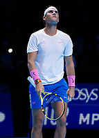 Tennis - 2019 Nitto ATP Finals at The O2 - Day Six<br /> <br /> Singles Group Andre Agassi: Rafael Nadal (Spain) Vs. Stefanos Tsitsipas (Greece)<br /> <br /> Rafael Nadal (Spain) looks up as things do not go his way in the first set <br /> <br /> COLORSPORT/DANIEL BEARHAM<br /> <br /> COLORSPORT/DANIEL BEARHAM