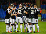 Brentford players celebrate with John Swift of Brentford during the Sky Bet Championship match between Bolton Wanderers and Brentford at the Macron Stadium, Bolton<br /> Picture by Mark D Fuller/Focus Images Ltd +44 7774 216216<br /> 30/11/2015