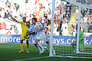 Swansea city's Michu (9) celebrates after he scores his sides 1st goal with a header.  Barclays Premier league, Swansea city v Reading at the Liberty Stadium in Swansea, South Wales on Saturday 6th October 2012.   pic by  Andrew Orchard, Andrew Orchard sports photography,
