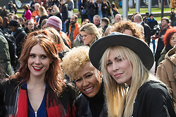"City Hall, London, March 5th 2017. Stars join March4Women through London. Mayor of London Sadiq Khan and suffragette descendents prepare to march and ""sing for a fairer world ahead of International Women's Day"". Attended by Annie Lennox, Emeli Sande, Helen Pankhurst, Bianca Jagger and with musical performances from Emeli Sande, Melanie C and more. PICTURED: (L-R) Kate Nash, Enile Sandé, Natasha Beddinfield"