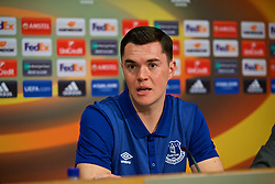 LIVERPOOL, ENGLAND - Wednesday, October 18, 2017: Everton's Michael Keane during a press conference at Finch Farm ahead of the UEFA Europa League Group E match against Olympique Lyonnais. (Pic by David Rawcliffe/Propaganda)