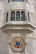 The crest of the Chartered Insurance Institute on Aldermanbury Street in the City of London. The CII is the world's leading professional organisation for insurance and financial services in the City of London, the capital's financial district - also known as the Square Mile. The institute has 102,000 members are committed to maintaining the highest standards of technical competence and ethical conduct. Below the crest that includes the representation of corn or wheat and ships' anchors are the Latin moto Consilium Scientia which translates as 'counsel and knowledge'.