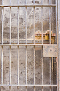 An historic jail cell door in Kingman, Arizona.