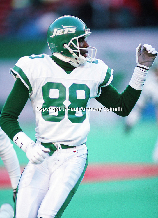 New York Jets  wide receiver Al Toon (88) goes out for a pass during the NFL football game against the Buffalo Bills on Dec. 23, 1989 in East Rutherford, N.J. The Bills won the game in a 37-0 shutout. (©Paul Anthony Spinelli)