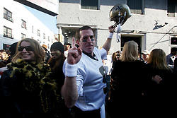 07 February 2010. New Orleans, Louisiana, USA. <br /> Super Bowl XL1V. <br /> Brian Kirn, a Drew Brees lookalike. New Orleans Saints fans gather in the French Quarter in anticipation of the big game in Miami later in the day as the home team goes head to head with the Indianapolis Colts for Super Bowl 44. <br /> Photo ©; Charlie Varley/varleypix.com