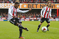 Josh Clarke of Brentford and Jota of Brentford during the Sky Bet Championship match between Brentford and Bristol City at Griffin Park, London<br /> Picture by Mark D Fuller/Focus Images Ltd +44 7774 216216<br /> 01/04/2017