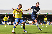 Leeds United Midfielder Kemar Roofe (7) and Southend United Defender John White (48) battle for the ball during the Pre-Season Friendly match between Southend United and Leeds United at Roots Hall, Southend, England on 22 July 2018. Picture by Stephen Wright.