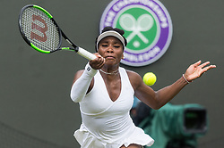 © Licensed to London News Pictures. 04/07/2018. London, UK. Venus Williams of the United States of America plays Alexandra Dulgheru of Romania in the women's 2nd round singles draw of the Wimbledon Tennis Championships 2018, Day 3. Photo credit: Ray Tang/LNP