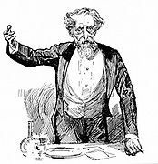 Charles Dickens (1812-1870) English novelist and journalist giving an after dinner speech. Engraving.