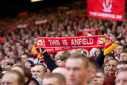 LIVERPOOL, ENGLAND - Sunday, May 11, 2014: Liverpool's supporters on the Spion Kop against Newcastle United during the Premiership match at Anfield. (Pic by David Rawcliffe/Propaganda)