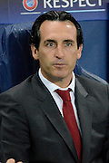 Sevilla  manager Unai Emery during the Champions League Group D match between Manchester City and Sevilla at the Etihad Stadium, Manchester, England on 21 October 2015. Photo by Alan Franklin.