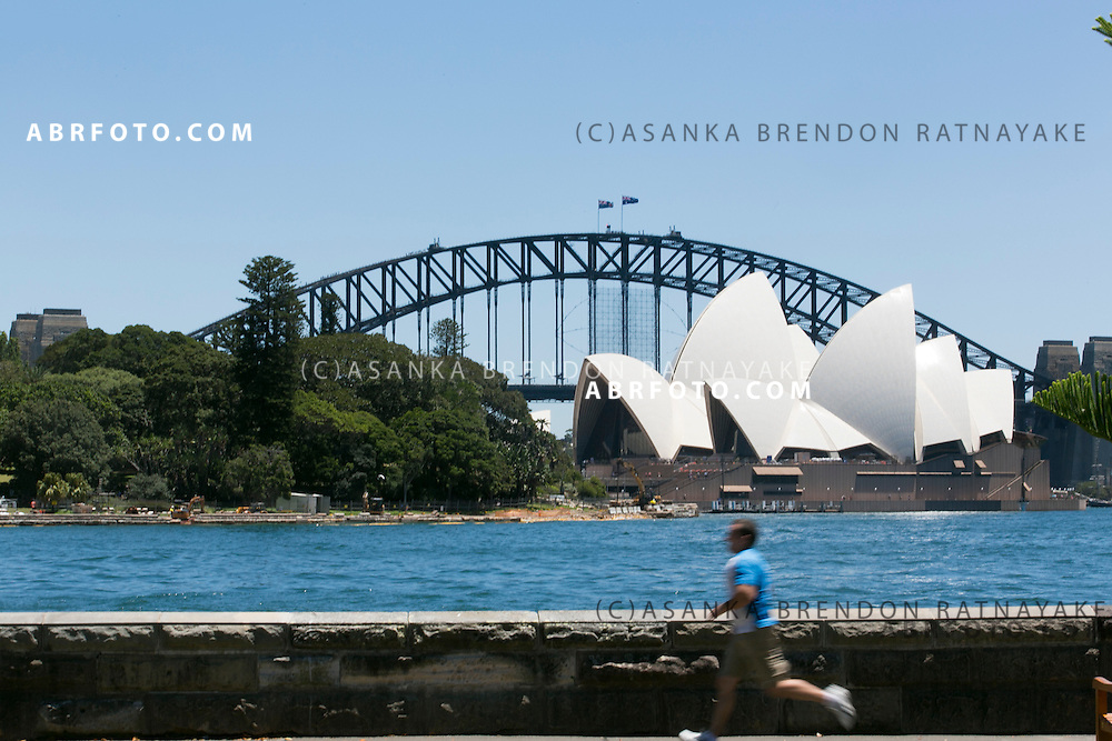 Runners running past the Sydney Harbour with the Sydney Harbour Bridge and Opera house in the background viewed from the Royal Botanic Gardens