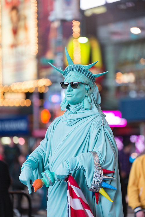Performer dressed as Statue of Liberty in Times Square.