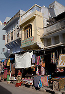 Craft items for sale in old buildings in Pushkar, Rajasthan, India