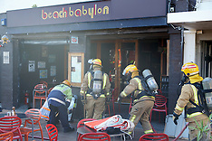 Wellington-Fire in Beach Babylon Cafe on Oriental Parade