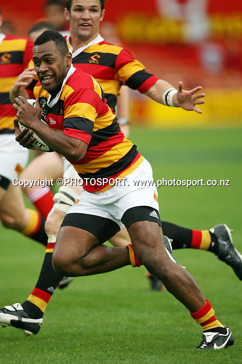 Sitiveni Sitivatu on his way to scoring during the Air NZ Cup game Waikato v North Harbour at Waikato Stadium on the 1st October 2006 Won by Waikato 31-15.