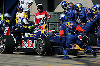 Alex Barron pits at the Michigan International Speedway, Firestone Indy 400, July 31, 2005
