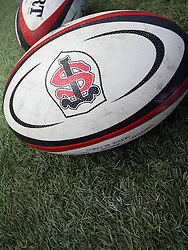 A detailed view of a Stade Toulousain rugby ball. Stade Toulousain v Brive, 24eme Journee, Top 14. Stade Ernest Wallon, Toulouse, France, 21 Avril 2012.