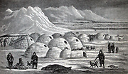 illustration of an Inuit village, Oopungnewing, near Frobisher Bay on Baffin Island. mid 19th century.