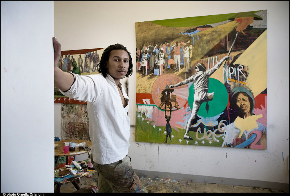 Berlin, 2012. At Funkhaus, Nalepastrasse. Artist's Portrais in their studios. South African artist, Xolelani Matshikiza.