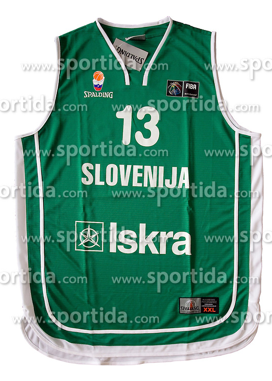 Jersey number 4 of Slovenian basketball national team when played at European Championships Spain 2007; on March 28, 2009, in Ljubljana, Slovenia (Photo by Vid Ponikvar / Sportida)
