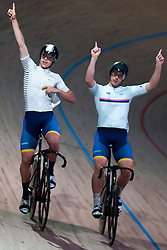 February 8, 2019 - Melbourne, VIC, U.S. - MELBOURNE, VIC - FEBRUARY 08: James Brister celebrates with Tom Clarke of Australia after their sprint race at The Six Day Cycling Series on February 08, 2019 at Melbourne Arena, VIC. (Photo by Speed Media/Icon Sportswire) (Credit Image: © Speed Media/Icon SMI via ZUMA Press)