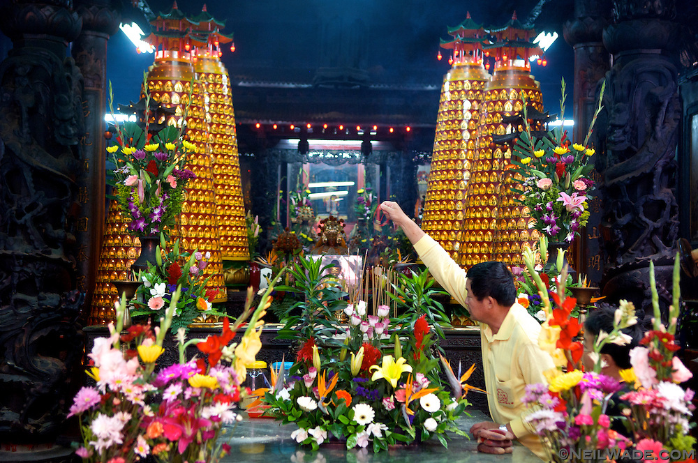 Inside the Tianhou Matzu Temple on Cijin Island in Kaohsiung, Taiwan.