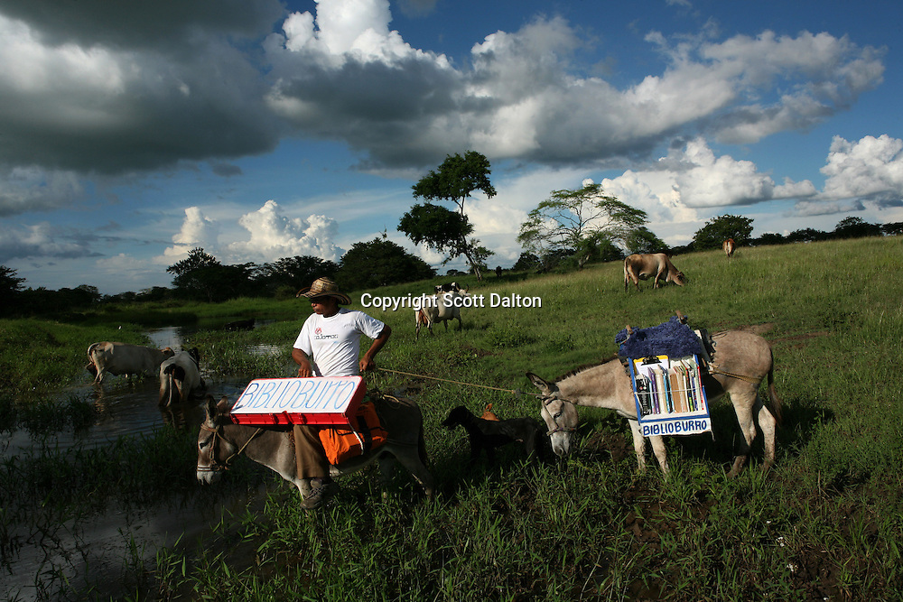 Luis Soriano, 36, takes his Biblioburro, or Donkey Library, in route to visit residents of El Brasil, a rural community in northern Colombia on Saturday, October 11, 2008. Mr. Soriano regularly takes long treks with his donkeys in tow in order to bring books to rural communities. (Photo/Scott Dalton)