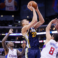 01 February 2014: Utah Jazz center Rudy Gobert (27) takes a jumpshot over Los Angeles Clippers small forward Hedo Turkoglu (8) during the Los Angeles Clippers 102-87 victory over the Utah Jazz at the Staples Center, Los Angeles, California, USA.