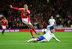 Aaron Ramsey of Wales has a shot blocked by Luka Milivojevic of Serbia - Mandatory by-line: Alex James/JMP - 12/11/2016 - FOOTBALL - Cardiff City Stadium - Cardiff, United Kingdom - Wales v Serbia - FIFA European World Cup Qualifiers
