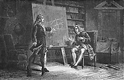 Jacques and Jean Bernoulli working on geometrical problems.  Jacques (Jakob) Bernoulli (1654-1705) and his brother Jean (Johann) Bernoulli (1667-1748) were members of the Bernoulli family of Swiss mathematicians. Engraving, Paris, 1874.