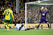 Norwich City defender Max Aarons (37) blasts this one over the bar during the EFL Sky Bet Championship match between Norwich City and Blackburn Rovers at Carrow Road, Norwich, England on 27 April 2019.