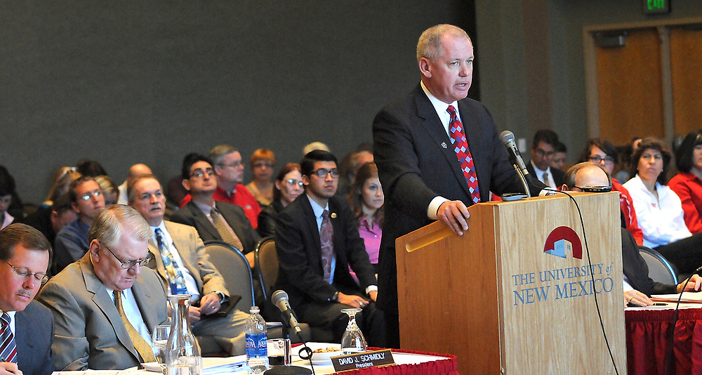 Paul Krebs, Vice President of UNM Athletics talks to the members of the UNM Board of Regents about the increase in tuition and students fees that will go to support athletics. Friday, March 23, 2012. (Jim Thompson/Albuquerque Journal)