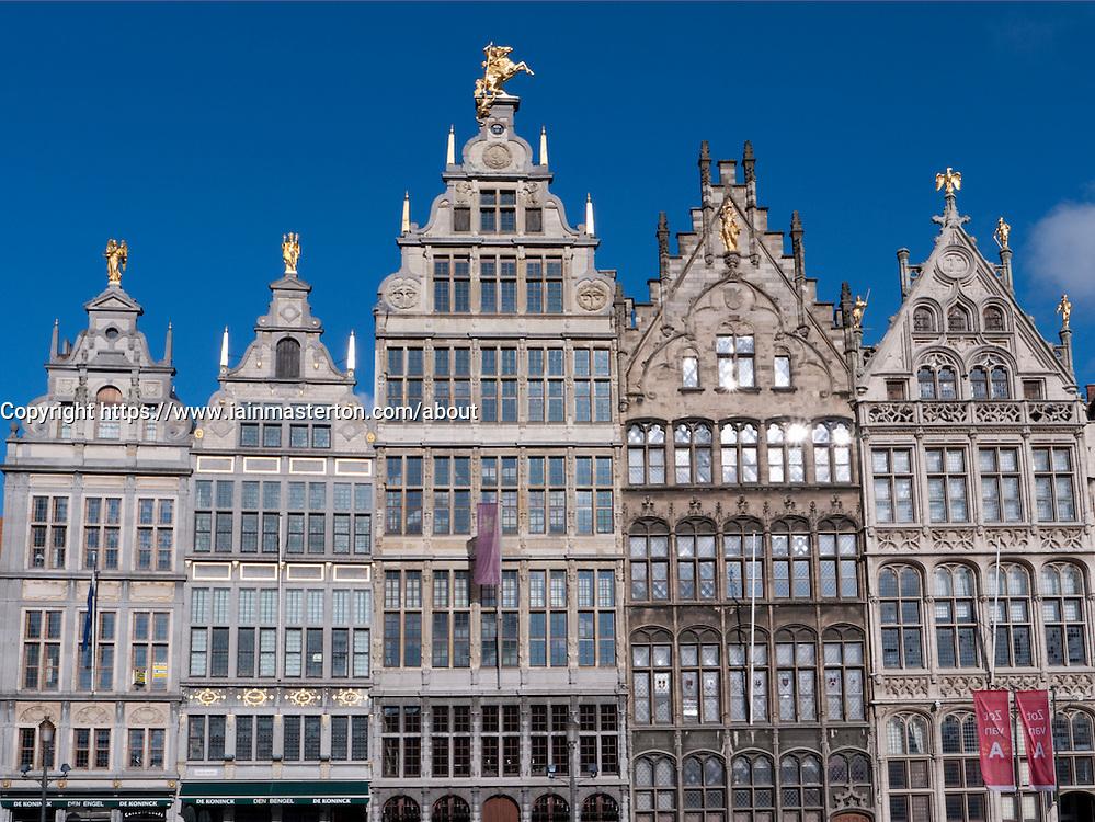 historic buildings in Grote Markt square in Antwerp Belgium