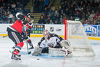 KELOWNA, CANADA - NOVEMBER 8: Payton Lee #1 of Vancouver Giants makes a save during first period  on November 8, 2014 at Prospera Place in Kelowna, British Columbia, Canada.   (Photo by Marissa Baecker/Shoot the Breeze)  *** Local Caption *** Payton Lee;