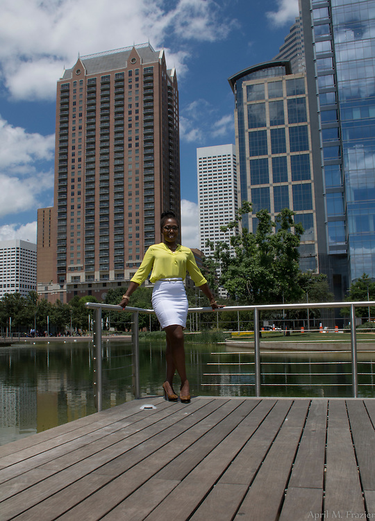 Head shot photo shoot for Chrishelle Calhoun Palay at Discovery Green in Downtown Houston TX