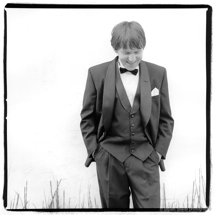 Elliott Smith photographed in Silverlake, CA. 2000 after the release of Figure 8. This was for a themed publication of MEAN Magazine where we had all the subjects dress up in Tuxedos to honor the Friars Club.