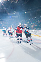 KELOWNA, CANADA - JANUARY 10: Leon Draisaitl #29 of Kelowna Rockets takes part in a pre-game ritual against the Medicine Hat Tigers on January 10, 2015 at Prospera Place in Kelowna, British Columbia, Canada.  (Photo by Marissa Baecker/Shoot the Breeze)  *** Local Caption *** Leon Draisaitl;