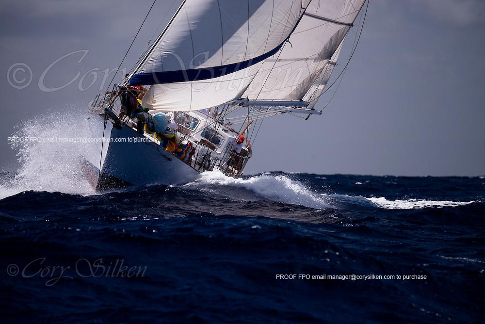 Tamasha sailing in the Old Road Race of the Antigua Classic Yacht Regatta.