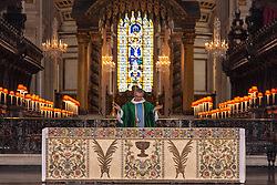 St Paul's Cathedral, London, August 1st 2014. an altar frontal created by more than 100 wounded WW1 soldiers from all across the UK, goes on display at St Paul's Cathedral, after months of painstaking restoration, and forms the centrepiece of the Cathedral's commemoration of the centenary of World War One.