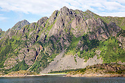 Steep sided glacial fiord valley side, Raftsundet strait, Nordland, northern Norway
