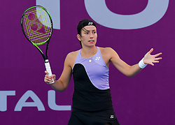 DOHA, Feb. 13, 2019  Anastasija Sevastova of Latvia reacts during the women's singles first round match between Anna Blinkova of Russia and Anastasija Sevastova of Latvia at the 2019 WTA Qatar Open in Doha, Qatar, Feb. 12, 2019. Anna Blinkova won 2-0. (Credit Image: © Nikku/Xinhua via ZUMA Wire)