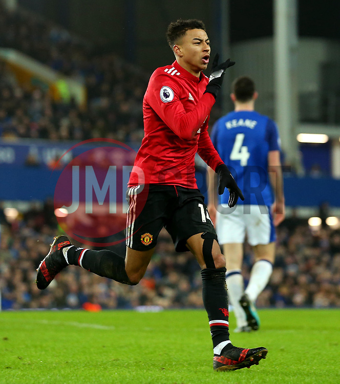 Jesse Lingard of Manchester United celebrates scoring a goal to make it 2-0 - Mandatory by-line: Robbie Stephenson/JMP - 01/01/2018 - FOOTBALL - Goodison Park - Liverpool, England - Everton v Manchester United - Premier League