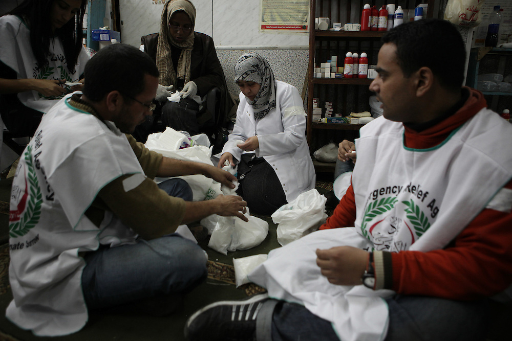 A makeshift hospital at a mosque in downtown Cairo treats protesters injured by Egyptian police.