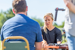 Gemma Davison of Chelsea is interviewed by Steve Cotton and filmed by Rob Latham and Rogan Thomson - Ryan Hiscott/JMP - 26/06/18 - Hallen - Bristol, England - Behind the Scenes Footage of Back 2 Action Interviews