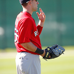 February 19, 2011; Fort Myers, FL, USA; Boston Red Sox center fielder Ryan Kalish (55) during spring training at the Player Development Complex.  Mandatory Credit: Derick E. Hingle