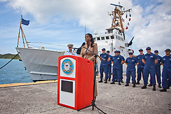 Congresswoman Stacey Plaskett gives remarks.  Coast Guard Boat Forces in the US Virgin Islands unveil two of the four 33-Special Purpose Craft Law-Enforcement (SPC-LEs) Boats that will be stationed in St. Thomas.   The SPC-LE's are specially built for counter-drug and migrant missions while patroling the border.  © Aisha-Zakiya Boyd